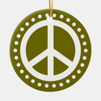 Peace on Earth Olive Green and White Polka Dot Ceramic Ornament