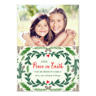 """Peace On Earth Pine Branches Holiday Photo Card 5"""" X 7"""" Invitation Card"""