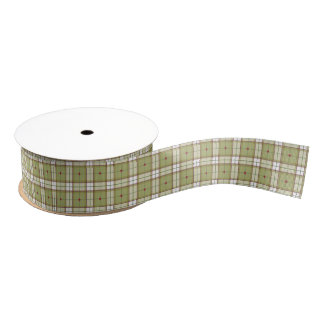 Peace on Earth Plaid Ribbon Grosgrain Ribbon