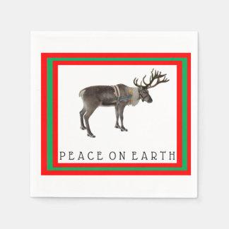 Peace on Earth reindeer cocktail napkins Disposable Serviette