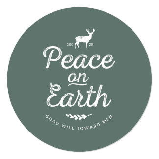 Peace on Earth Round Christmas Card Invite