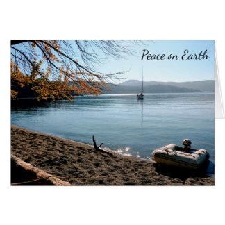 Peace on Earth Sailboat Christmas Holiday Card