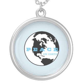 Peace on earth silver plated necklace