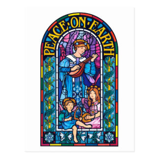 Peace on Earth stained glass Christmas postcard
