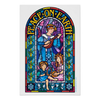 Peace on Earth stained glass Christmas poster