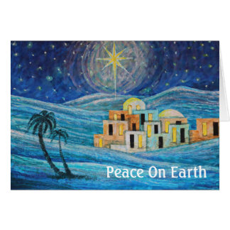 Peace on Earth Star Bethlehem Blue Card