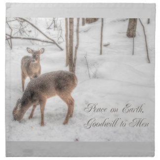 Peace on Earth - Two Deer In Snowy Woods Napkin