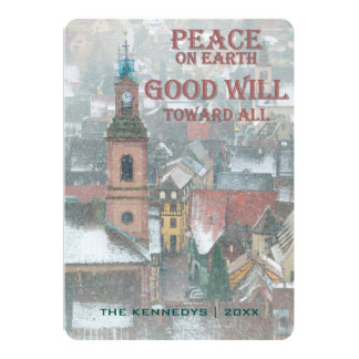 Peace on Earth - View of Alsace Village - France 13 Cm X 18 Cm Invitation Card