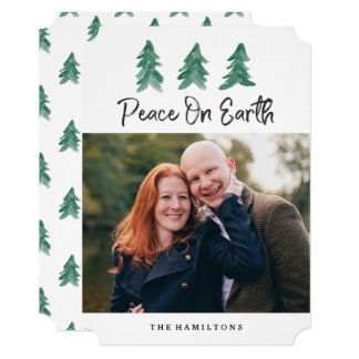 Peace On Earth Watercolor   Holiday Photo Card