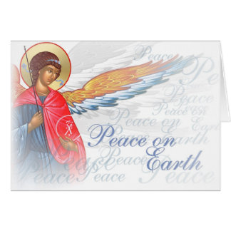 """Peace on Earth"" with Angel and Nativity scene Card"