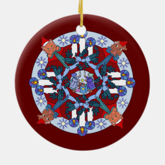 Peace on Earth Wreath Round Ceramic Decoration