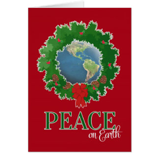 Peace on Earth Wreath with globe Card