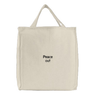 Peace out embroidered bag