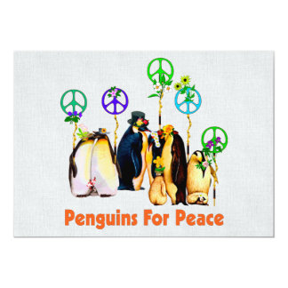 Peace Penguins 13 Cm X 18 Cm Invitation Card