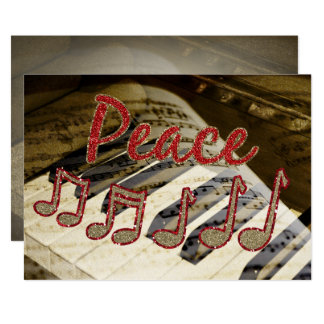 peace piano teacher holiday greeting Cards