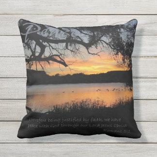 Peace Pillow Lake Sunset Pillow Romans 5