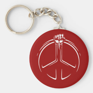 Peace Power! Basic Round Button Key Ring