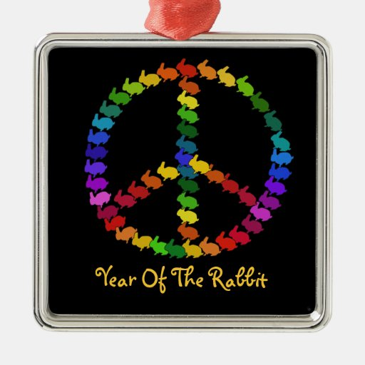 Peace Rabbits Christmas Ornament