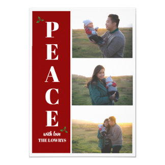 Peace Red Holiday Christmas Photo Greeting Card