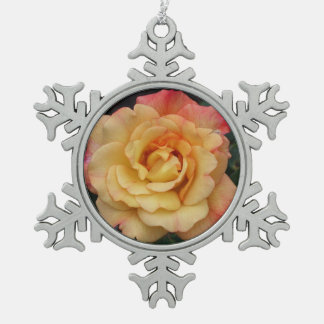 Peace Rose Beautiful Pink and Yellow Floral Pewter Snowflake Decoration