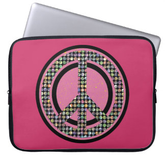 PEACE SEQUINED PINK Laptop Sleeve