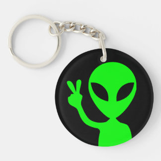 Peace Sign Alien Key Chain