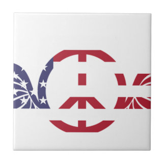 Peace Sign America Red White Blue Stars Usa Tile