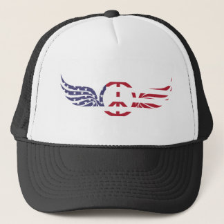 Peace Sign America Red White Blue Stars Usa Trucker Hat