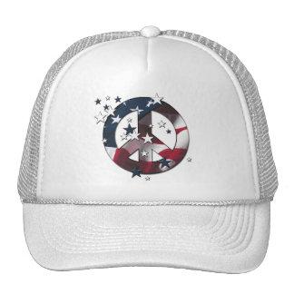 Peace Sign American Stars & Stripes Flag Cap