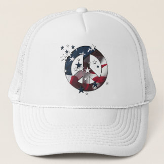 Peace Sign American Stars & Stripes Flag Trucker Hat