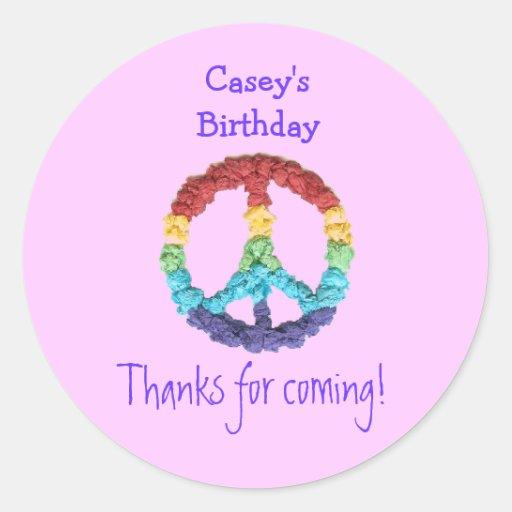 Peace sign birthday favor label round sticker