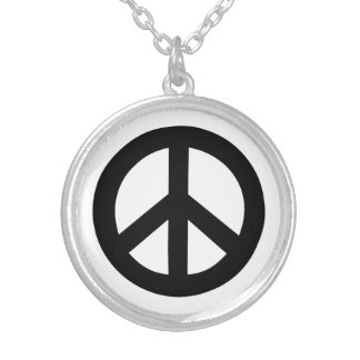 Peace Sign Black Silver Plated Necklace