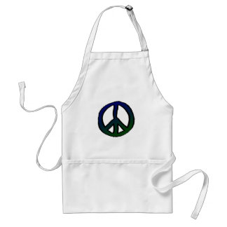 Peace Sign Blue and Green - Adult Apron