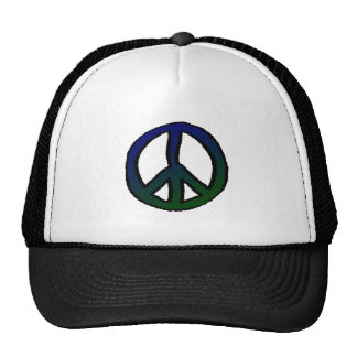 Peace Sign Blue and Green Cap