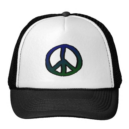 Peace Sign Blue and Green - Mesh Hat