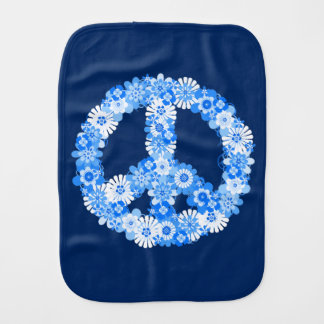 Peace Sign Blue Burp Cloth
