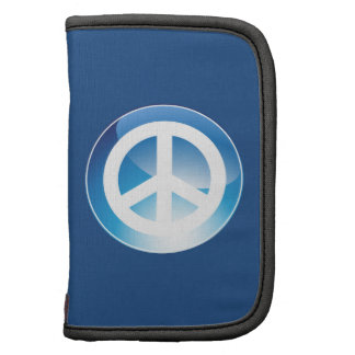 Peace Sign Blue Crystal Button Planner