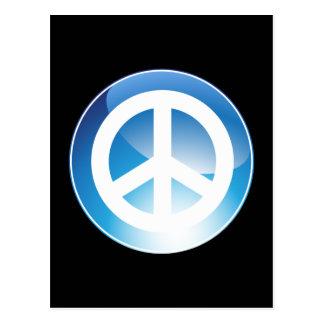 Peace Sign Blue Crystal Button Postcard