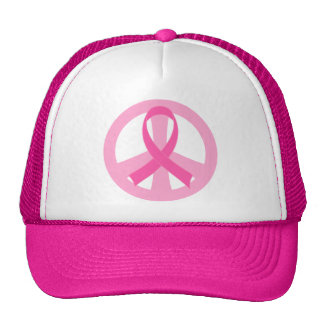 Peace Sign Breast Cancer Pink and White Gift Cap Hats