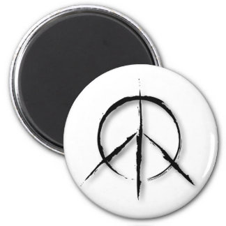 Peace Sign Brushed-1 6 Cm Round Magnet