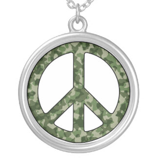 Peace Sign Camouflage Camo Necklace