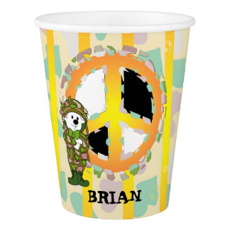 PEACE SIGN CARTOON 3  Paper Cup, 9 oz Paper Cup