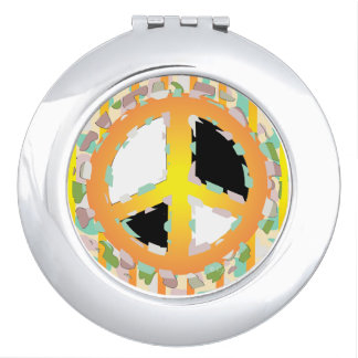 PEACE SIGN CARTOON compact mirror ROUND