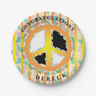 """PEACE SIGN CARTOON  Paper Plates 7"""" 7 Inch Paper Plate"""