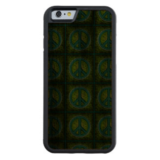 Peace Sign Carved Walnut iPhone 6 Bumper Case