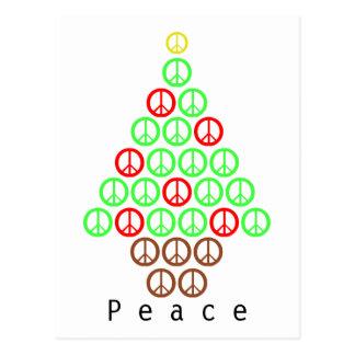 Peace Sign Christmas Tree Postcard