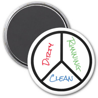 Peace Sign Clean Dirty Running Dishwasher 7.5 Cm Round Magnet