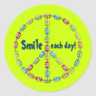 Peace Sign Colorful Braces Smile Each Day Lime Round Sticker