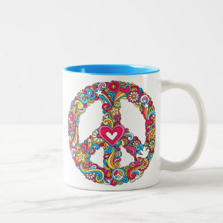 Peace Sign & Dove Groovy Psychedelic Mug ♥