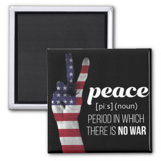 Peace Sign draped in American Flag - definition Magnet